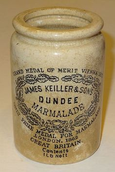 Antique 1lb. Dundee Marmalade Stoneware Crock... James Keiller Son's, Great Britain.