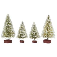 """A cluster of tiny, snow-covered evergreens adds holiday cheer to Christmas terrariums.- Set of four, two large and two small- Bottlebrush tree, wood base- ImportedSizes range from 3""""H - 3.5""""H"""