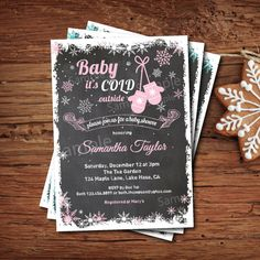 Baby it's cold outside baby girl shower invitation. Winter baby shower invitation. Pink snowflake mitten chalkboard. Digital invite. X016