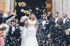 Pretty Pink & Gold Wedding | Pearl Paper Studio | Ben Lau Photography | Whimsy Weddings | Bridal Musings Wedding Blog featuring a Martina Liana designer wedding gown