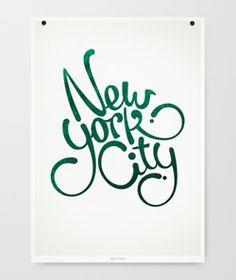 New York City hand-lettering art print in green.