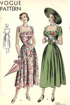 1940s dress green red floral square neckline short sleeves sleeveless day wear…