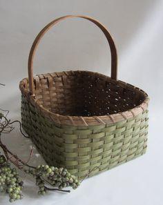 Painted Market Basket/Magazine Basket by JGBaskets on Etsy,