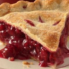 1 c sugar, 1/4 c flour, 1/2 cup juice from cherries, 3 cups drained, canned, pitted tart red cherries, 1 T soft butter, 4 drops almond extract, pastry for 9-inch lattice-top-pie: combine sugar, flour, 1/4 t salt; stir in juice. Cook and stir over medium heat till thick; cook 1 minute longer. Add cherries, butter, extract, and 10 drops red food coloring. Let stand; make pastry. Line 9-inch pie plate with pastry; fill. Top with lattice crus. Flute edges. Bake (450) 10 minutes; (350) 45 mins.