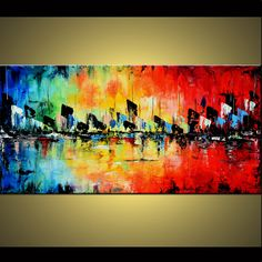 Red and blue painting 48x24 Abstract von ModernArtHomeDecor auf Etsy
