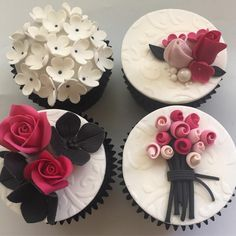 Trendy Ideas For Cupcakes Fondant Toppers Wedding Fondant Flower Cupcakes, Fancy Cupcakes, Fondant Cupcake Toppers, Easter Cupcakes, Fondant Flowers, Wedding Cupcakes, Cupcake Cookies, Beautiful Cupcakes, Valentine Cake
