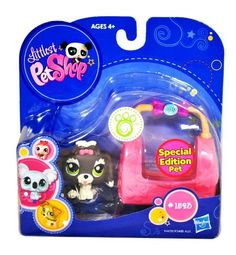 Hasbro Year 2009 Littlest Pet Shop Portable Pets Special Edition Pet Series Bobble Head Pet Figure Set 1523  Grey White Lhasa Apso Puppy Dog with Cozy Carrier Bag 94439 * Be sure to check out this awesome product.