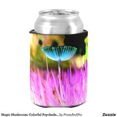 Magic Mushroom: Colorful Psychedelic PNW Fungus Can Cooler #zazzle #mushrooms #drinking #cheers #shoppingonline