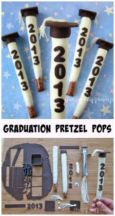 Graduation Party Pretzel Pops Topped with Grad Caps - New Video Tutorial Make your commencement celebration extra special by serving Graduation Party Pretzel Pops. These white chocolate dipped pretzels decorated with modeling chocolate graduation caps can Graduation Party Desserts, Graduation Party Foods, College Graduation Parties, Graduation Cupcakes, Kindergarten Graduation, Graduation Celebration, Graduation Decorations, Graduation Party Decor, Grad Parties