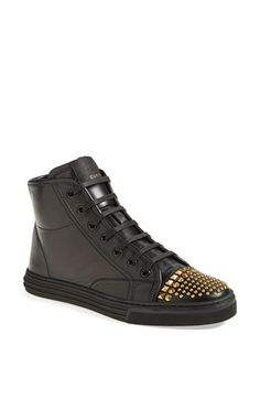 Free shipping and returns on Gucci 'California' Studded Sneaker (Women) at Nordstrom.com. Mixed goldtone studs gleam at the toe of a street-savvy high-top sneaker cast in lush leather for a hint of refinement.