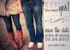 Side Simple Swirl - Custom Photo Save the Date Wedding Announcement Cards. $12.99, via Etsy.