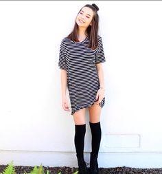 Brandy Melville T-shirt dress + knee high socks