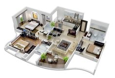 Three Bedroom House Plans Inspirational 25 More 3 Bedroom Floor Plans 3d House Plans, House Layout Plans, Dream House Plans, Small House Plans, 3 Room House Plan, Three Bedroom House Plan, Layouts Casa, House Layouts, Home Design Plans