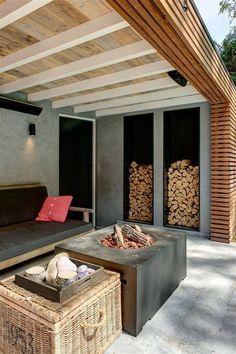 Garten Überdachung Sitzecke Holz und Beton: