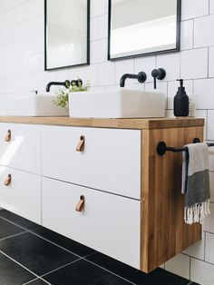 Ikea Hacks: Three ideas for your leftover countertops — Mountainside Home - Ikea DIY - The best IKEA hacks all in one place Ikea Hack Bathroom, Ikea Bathroom Vanity, Ikea Hack Kitchen, Modern Bathroom, Vanity For Small Bathroom, Ikea Hack Vanity, Master Bathroom, Kitchen Vanity, Ikea Kitchens