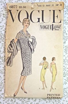 Vogue 4877  Vintage 1950s Womens Sheath Dress Pattern by Fragolina, $15.00