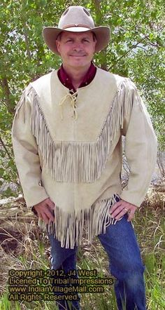 Description <br /><br Genuine High Quality Buffalo Suede Leather<br />Fringes<br />Inside Satin Silk Lining <br />Fine Premium Stitching<br /> Native American Clothing, Native American Crafts, Western Hats, Western Outfits, Suede Leather, Leather Men, Moccasins Outfit, Cowboy Crafts, Fringe Leather Jacket