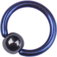 Titanium Dark Blue Ball Closure Rings with Black Hematite Ball