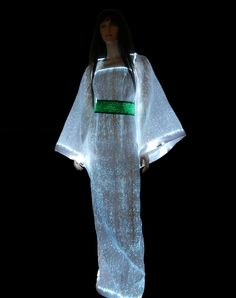 Long dress fully made of fiber optics fabric...  http://lumigram.com/