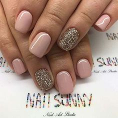 Simple Neutral and Glitter Prom Nail Design for Short Nails #beautynails