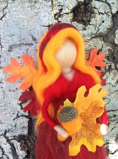 Red Autumn Waldorf Fairy by thewoolengnome on Etsy