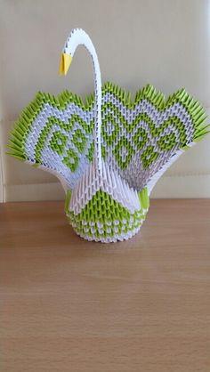 3d swam Origami Paper Swan, Origami Lotus Flower, Origami Paper Folding, Paper Crafts Origami, Modular Origami, Origami Art, Diy Paper, Origami Ornaments, Origami Decoration