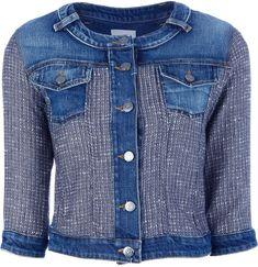 upcycled denim jacket Pinko ~ Sentimento Denim Jacket, great idea for my white denim jacket.