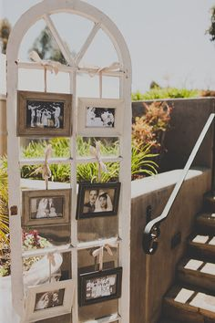Old window frame with family wedding pictures.  Love this!