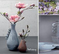 Los jarrones anillas quedan preciosos con magnolias o lilas por sus tonos pasteles