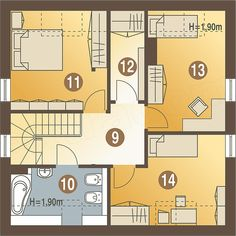 Rzut poddasza projektu Szczęśliwa z garażem 1-st. [A] Floor Plans, Floor Plan Drawing, House Floor Plans
