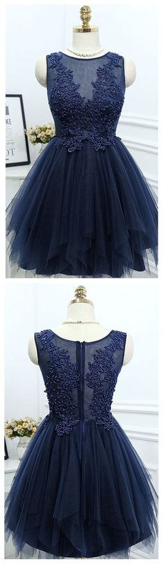 Navy Blue Tulle Homecoming Dresses with Lace Appliqued Bodice Short Prom Dresses,It can be made in other colors,you can contact with us when you want other colors. Navy Blue Homecoming Dress, Simple Homecoming Dresses, Hoco Dresses, Tulle Prom Dress, Evening Dresses, Tulle Lace, Dress Party, Photos Of Dresses, Navy Cocktail Dress