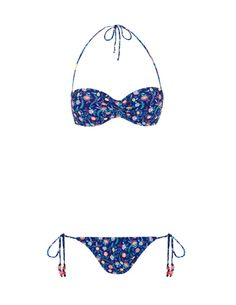 SuiteBlanco- Bikini cruzado flores push up