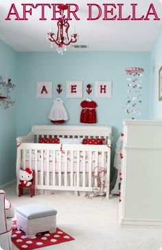 Love the color scheme here -- aqua with hits of red. I'm not in the market for a nursery, but if I were...