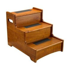 Like this wooden step stool to get onto the bed. Instructions here.