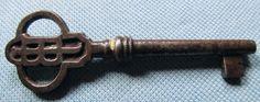 Vintage Old Skeleton Key Designed Top Initials JB Solid Barrel Nice Patina