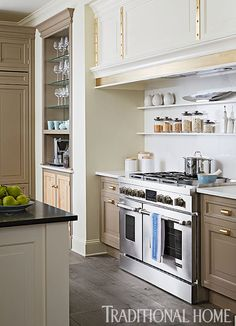 kitchen remodeling trends BECKI Beautiful Trends in Open Shelving - Switching out your upper cabinets for shelving opens up your space and leaves it feeling bright and airy. Today I am looking at seven open-shelving trends. All White Kitchen, New Kitchen, Kitchen Dining, Kitchen Decor, Kitchen Small, Kitchen Ideas, Interior Exterior, Interior Design Kitchen, Interior Modern