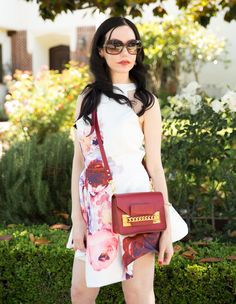 Shein floral dress, Sophie Hulme Crossbody Bag, Gucci Sunglasses, Lisa Valerie Morgan, Pretty Little Shoppers Blog, Actress and Blogger, Los Angeles Fashion Blogger, Spring Fashion, Floral Dress