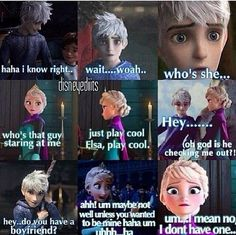 LOL Elsa and Jack Frost..(LOL Even though I dont ship them , this is cute)