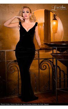 Laura Byrnes California- The Laura Byrnes Gilda Gown in Black Velvet   Pinup Girl Clothing