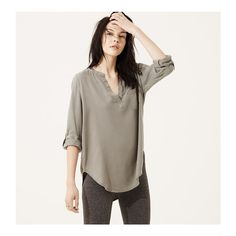 LOFT Lou & Grey Soft Splitneck Shirt ($60) ❤ liked on Polyvore featuring tops, wispy sage, twill shirt, grey top, gray long sleeve shirt, gray top and loft shirt