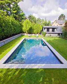 Rectangular pool - coping flush with lawn