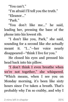Eleanor and Park - Rainbow Rowell I Love Books, Good Books, My Books, Eleanor And Park Quotes, Some Words, Three Words, Favorite Book Quotes, Rainbow Rowell, Couple Quotes