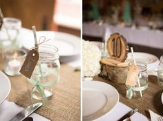 Burlap table runners, mint guest tags inside mason jars and rustic table numbers (image: Andrea Dahlberg Photography).