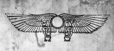 I swear there are ram horns on that Egyptian sun disk. Egyptian Symbols, Ancient Symbols, Ancient Egypt, Wing Tattoo Men, Dragon Tattoo Back, Japanese Dragon Tattoos, Ancient Near East, Tribal Art, Art Sketchbook