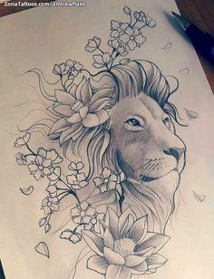 Diseño de Andrewflaks Flores, Leones, Animales En ZonaTattoos, tu web de tatuajes