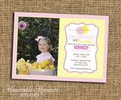 PRINTABLE INVITATIONS Pink Lemonade Party Celebration - Pink and Yellow Birthday Party with Chevron - Memorable Moments Studio on Etsy, $15.00