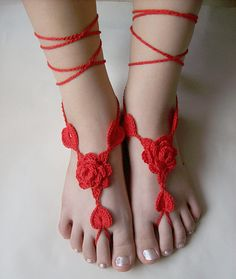 Sexy crocheted barefoot sandals