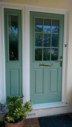Chartwell Green 1 Glass Grill 2 Solid Panel With A Composite Side Frame 1 Glass Square 1 Solid Panle Porch Doors, Front Doors, Windows And Doors, Modern Front Door, House Front Door, Cottage Door, Cottage Homes, Exterior Colors, Interior And Exterior