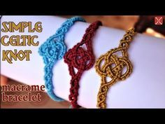 Macrame simple celtic knot bracelet tutorial - Easy and elegant jewelry. Hi guys, this video: Macrame simple celtic knot bracelet tutorial - Easy and elegant jewelry is another suitable project for minimalist lover. No beads, uncomplicated, just simple Micro Macrame Tutorial, Macrame Jewelry Tutorial, Macrame Bracelet Patterns, Crochet Jewelry Patterns, Macrame Bracelet Tutorial, Macrame Patterns, Macrame Bracelets, Loom Bracelets, Bangles
