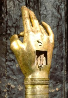 """""""Right Hand of Saint John the Baptist""""; 1484; bone fragment, gilted silver over wooden core; Topkapi Palace, Istanbul"""